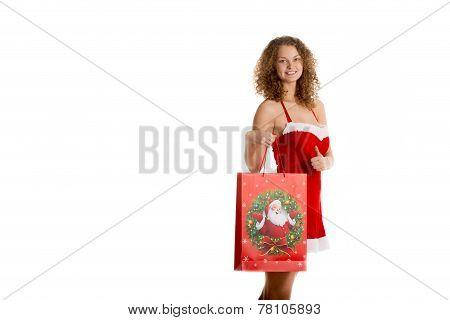 Girl with christmas shopping bag