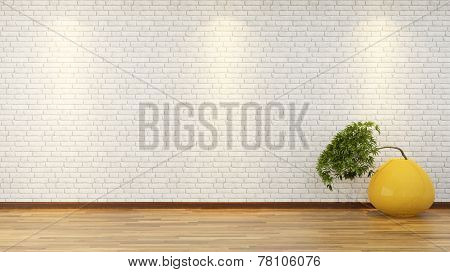 White Brick Wall With Bonsai In Vase