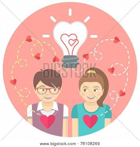 Couple in love with a light bulb in a pink circle