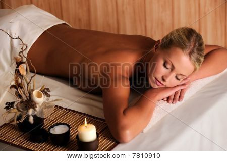 Young Beauty Female Relaxing In Spa Salon