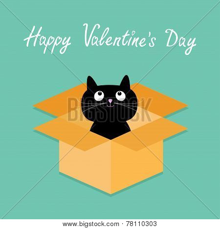 Cat Inside Opened Cardboard Package Box. Happy Valentines Day Card Flat Design Style.