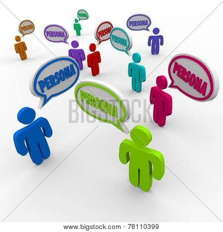 Persona word in speech bubbles over customer heads to illustrate client or buyer information or profiles in business prospecting
