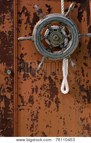Old boat wheel vertical