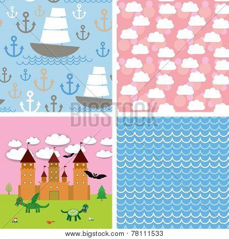 Set 3 seamless background. Castle, fairytale landscape. vector