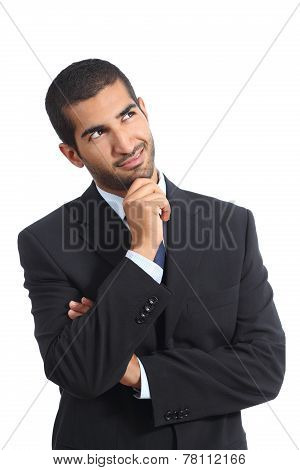 Arab Business Man Thinking Smiling Looking Sideways