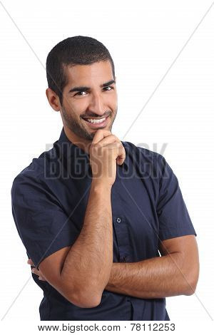 Attractive Arab Pensive Man Thinking And Looking At Camera