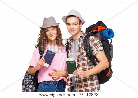 Young couple with passports