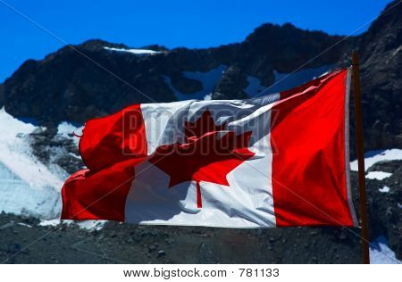 Canada flag & mountain