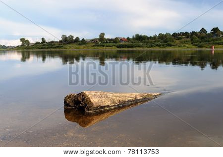 Sunken Logs In The River At Sunset