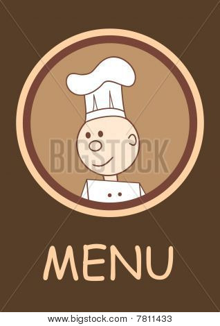 Cafe or restaurant menu with happy smiling chef