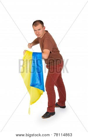 Young Man Threatens His Fists With Flag Of Ukraine