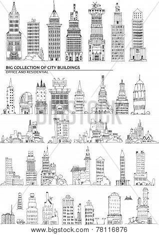 City buildings set, Sketch collection