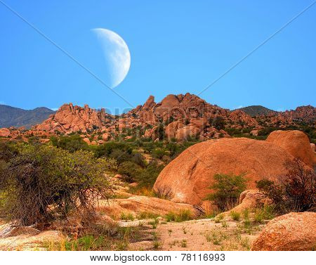Moon Above Texas Canyon