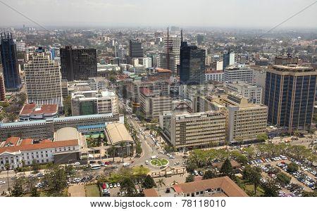 NAIROBI, KENYA-SEPTEMBER 17, 2014: Downtown Nairobi, Kenya seen from a low aerial view.