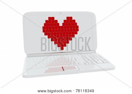Heart Symbol On Laptop Display