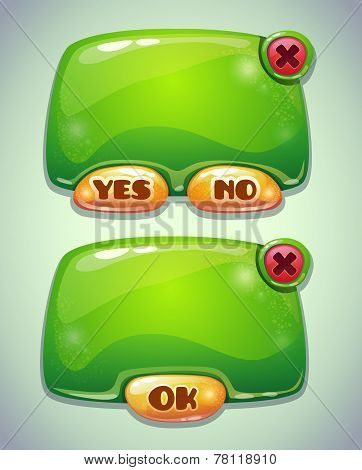 Glossy green cartoon panels