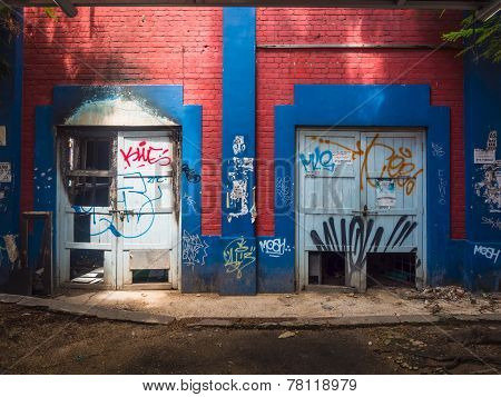 Graffiti On Abandoned Building Walls
