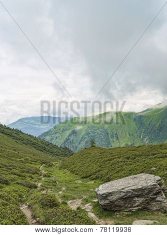 Alpine Hiking Route In Green Valley