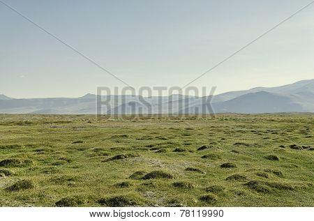 Green Flat Grass Valley Among Mountains