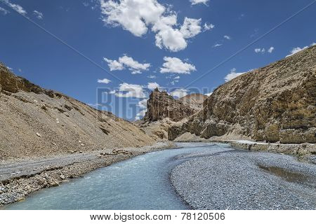 Curved River And Jagged Mount