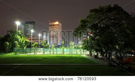 Outdoor Sport Stadium At Night In The Park