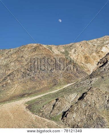 Dirt Mountain Road And Moon