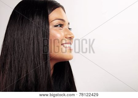 Happy Smiling Woman's Profile