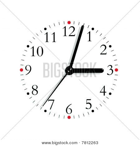 Black And White Analogue Clock Face Dial At 3:03 Pm, Isolated Macro