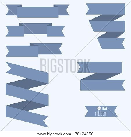 Set of blue ribbons for different designs and decorations