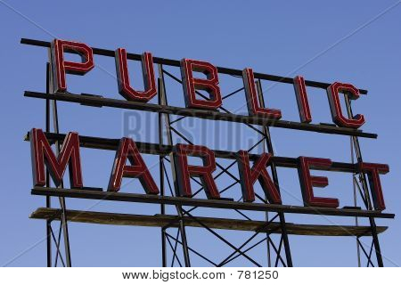 Large public market sign