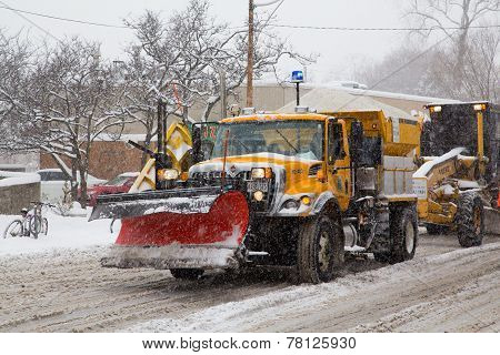 Large Truck With Snowplow And Grit