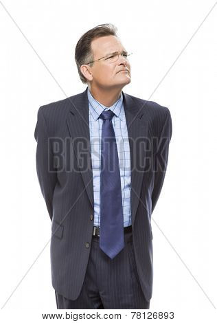 Handsome Businessman Looking Up and Over Isolated on a White Background.