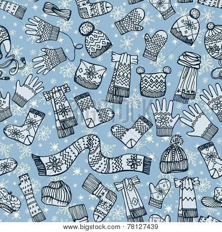 Knitted clothing accessories seamless pattern.Sketchy