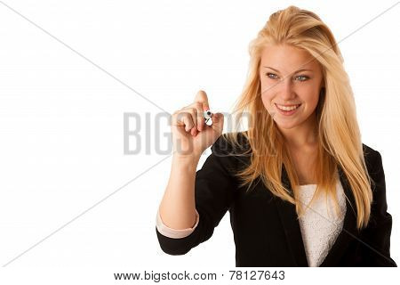 Young Blonde Business Woman With Blue Eyes, Writes On A Glass Table With Marker Presenting Bussiness