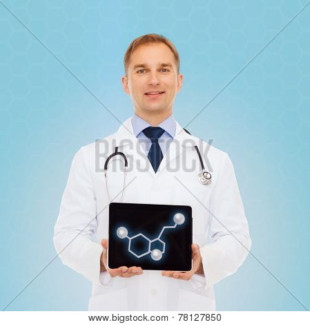 medicine, technology, people and biology concept - smiling male doctor showing tablet pc computer screen with molecular model over blue background