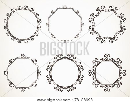 Ornamental eastern calligraphic round frame Vector set