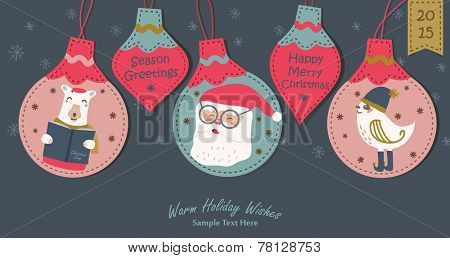 Greeting card, Christmas card with Santa Claus polar bear and little bird