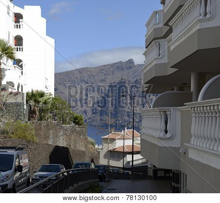 Petunia Street In Los Gigantes, Tenerife, Canary Islands, Spain.