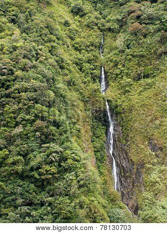 Thin Waterfall Near Banos