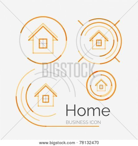 Thin line neat design logo set, clean modern concept, home, house idea