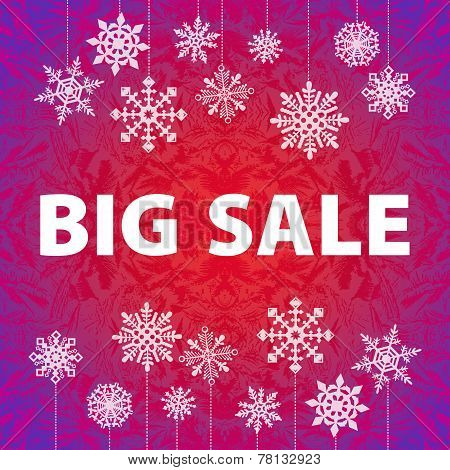 Winter sale background banner and snow. Christmas. New year. Vector