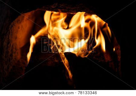 Closeup Fire Of An Oven Of Wood