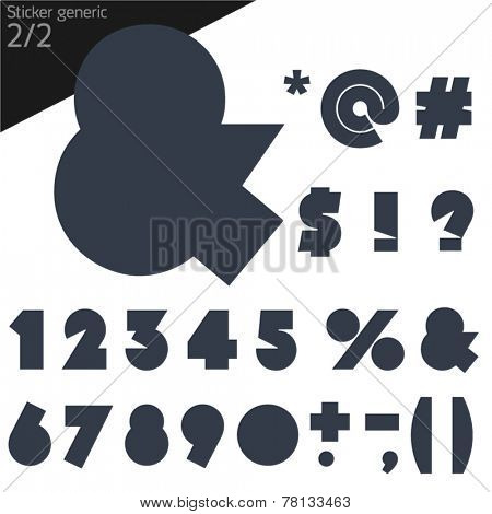 Vector illustration of generic font. Sticker style