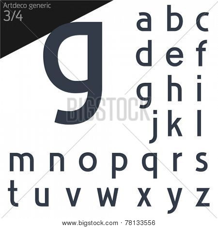 Vector illustration of generic font. Art deco Normal style