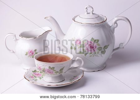 Traditional English Tea With White Tea Set Floral Dishware