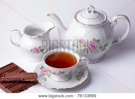 White Tea Set Floral Dishware With Chocolate