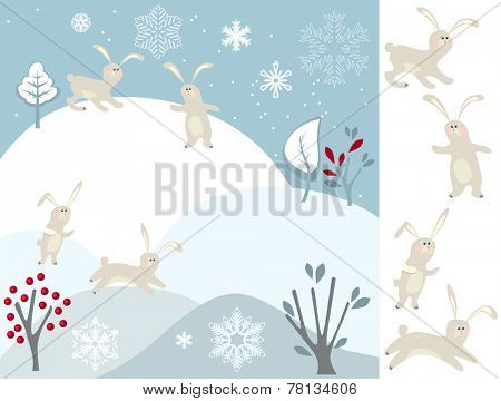 Greeting card with winter landscape and rabbits
