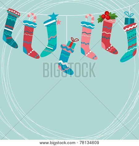 Blue greeting card with Santa socks