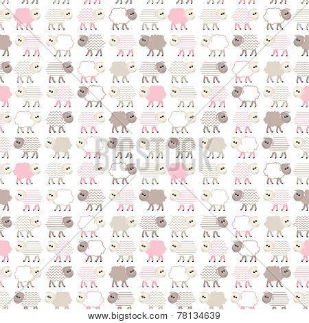 Seamless pastel pink pattern with sheep