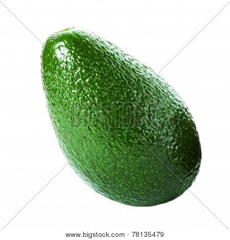 Fresh Whole  Avocado Isolated On A White Background.  Ripe Beautiful Avocado Macro